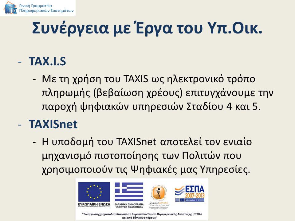 Συνέργεια με Έργα του Υπ.Οικ. -TAX.I.S -Με τη χρήση του TAXIS ως ηλεκτρονικό τρόπο πληρωμής (βεβαίωση χρέους) επιτυγχάνουμε την παροχή ψηφιακών υπηρεσ
