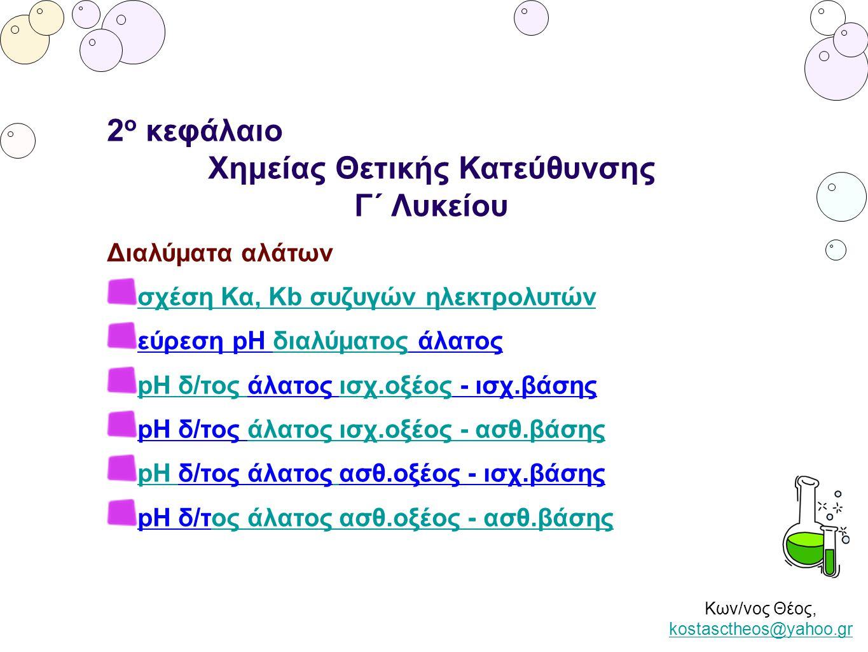 Κων/νος Θέος, kostasctheos@yahoo.gr kostasctheos@yahoo.gr 2 ο κεφάλαιο Χημείας Θετικής Κατεύθυνσης Γ΄ Λυκείου Διαλύματα αλάτων σχέση Κα, Κb συζυγών ηλ
