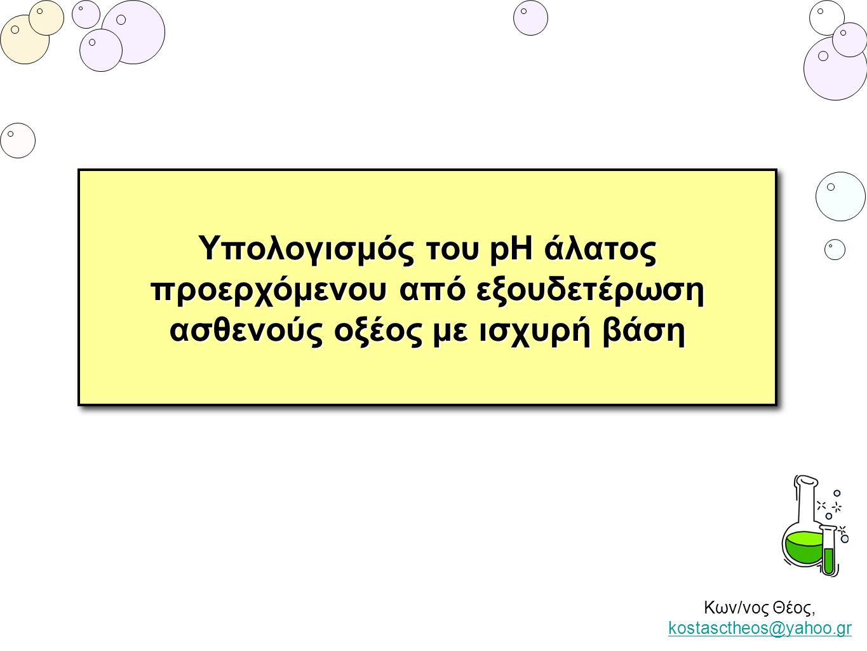Κων/νος Θέος, kostasctheos@yahoo.gr kostasctheos@yahoo.gr Υπολογισμός του pH άλατος προερχόμενου από εξουδετέρωση ασθενούς οξέος με ισχυρή βάση Υπολογ