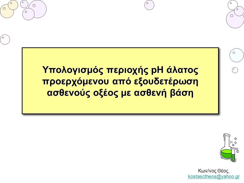 Κων/νος Θέος, kostasctheos@yahoo.gr kostasctheos@yahoo.gr Υπολογισμός περιοχής pH άλατος προερχόμενου από εξουδετέρωση ασθενούς οξέος με ασθενή βάση Υ