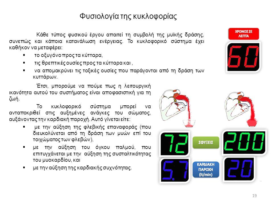 19 Κάθε τύπος φυσικού έργου απαιτεί τη συμβολή της μυϊκής δράσης, συνεπώς και κάποια κατανάλωση ενέργειας. Το κυκλοφορικό σύστημα έχει καθήκον να μετα