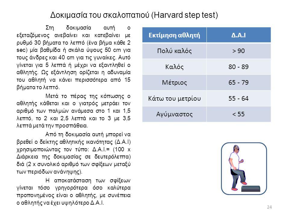 Δοκιμασία του σκαλοπατιού (Harvard step test) Στη δοκιμασία αυτή ο εξεταζόμενος ανεβαίνει και κατεβαίνει με ρυθμό 30 βήματα το λεπτό (ένα βήμα κάθε 2
