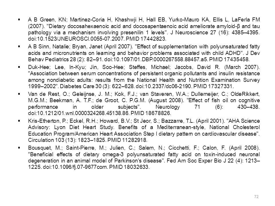  Α Β Green, KN; Martinez-Coria H, Khashwji H, Hall EB, Yurko-Mauro KA, Ellis L, LaFerla FM (2007).