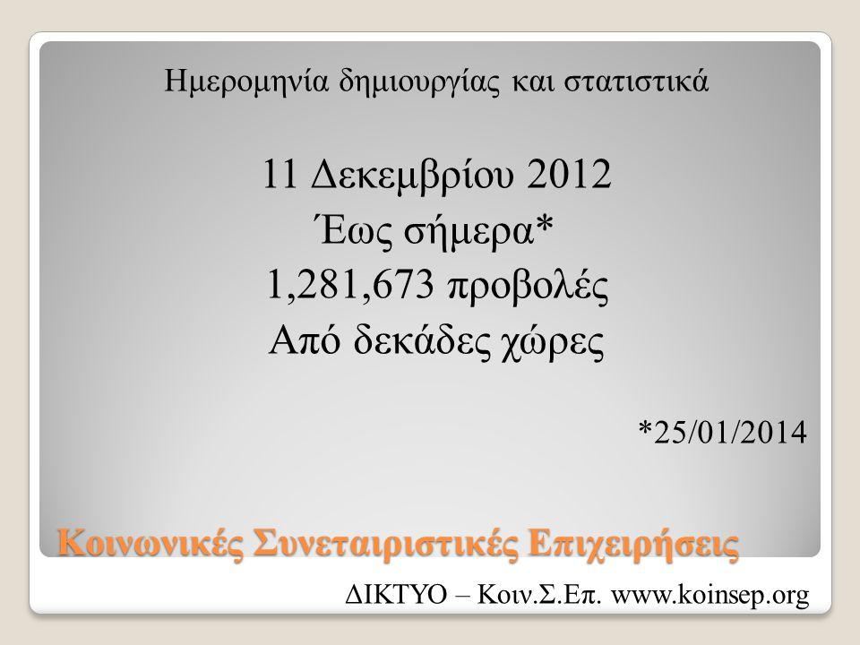 Κοινωνικές Συνεταιριστικές Επιχειρήσεις Ημερομηνία δημιουργίας και στατιστικά 11 Δεκεμβρίου 2012 Έως σήμερα* 1,281,673 προβολές Από δεκάδες χώρες *25/
