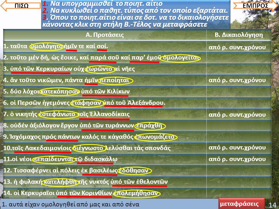 2. αυτά τα λόγια ειπώθηκαν από τους πρέσβεις3. οι στρατιώτες έχουν παραταχθεί από τον Κλέαρχο4. ο δικαστής πείστηκε από τον αδύνατο5. οι μαθητές διατά