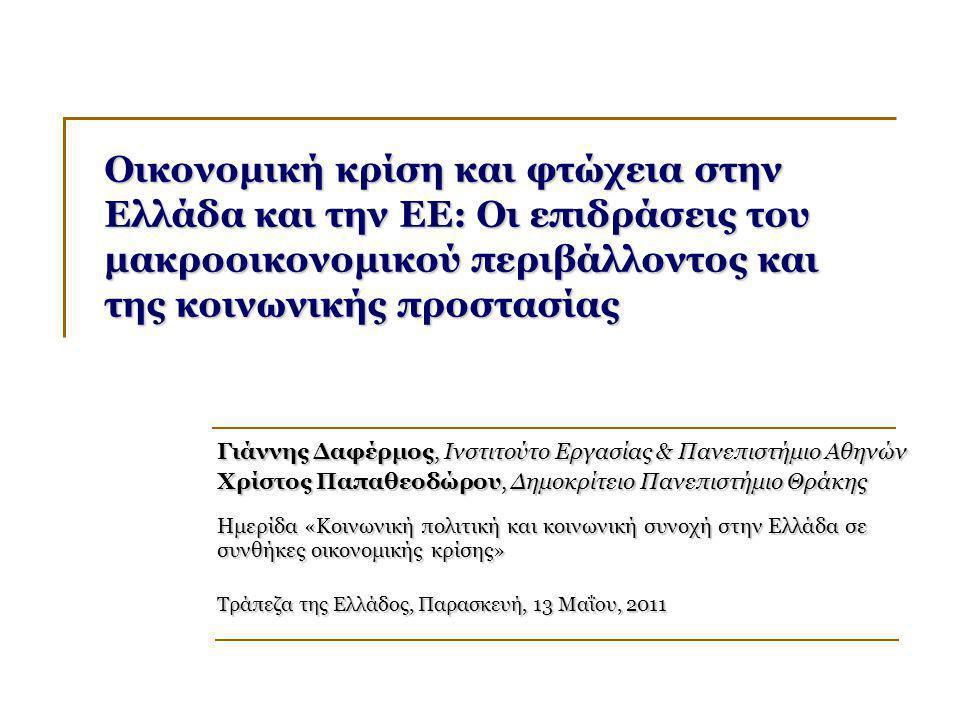 Οικονομική κρίση και φτώχεια στην Ελλάδα και την ΕΕ: Οι επιδράσεις του μακροοικονομικού περιβάλλοντος και της κοινωνικής προστασίας Γιάννης Δαφέρμος, Ινστιτούτο Εργασίας & Πανεπιστήμιο Αθηνών Χρίστος Παπαθεοδώρου, Δημοκρίτειο Πανεπιστήμιο Θράκης Ημερίδα «Κοινωνική πολιτική και κοινωνική συνοχή στην Ελλάδα σε συνθήκες οικονομικής κρίσης» Τράπεζα της Ελλάδος, Παρασκευή, 13 Μαΐου, 2011