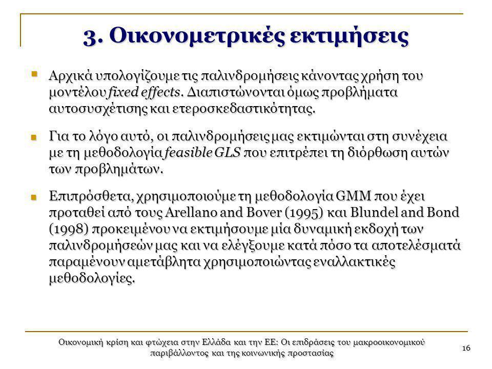 Οικονομική κρίση και φτώχεια στην Ελλάδα και την ΕΕ: Οι επιδράσεις του μακροοικονομικού παριβάλλοντος και της κοινωνικής προστασίας 16 3. Οικονομετρικ