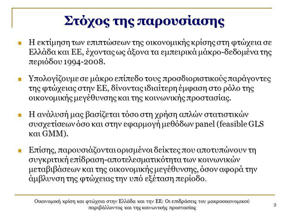 Οικονομική κρίση και φτώχεια στην Ελλάδα και την ΕΕ: Οι επιδράσεις του μακροοικονομικού παριβάλλοντος και της κοινωνικής προστασίας 2 Στόχος της παρου