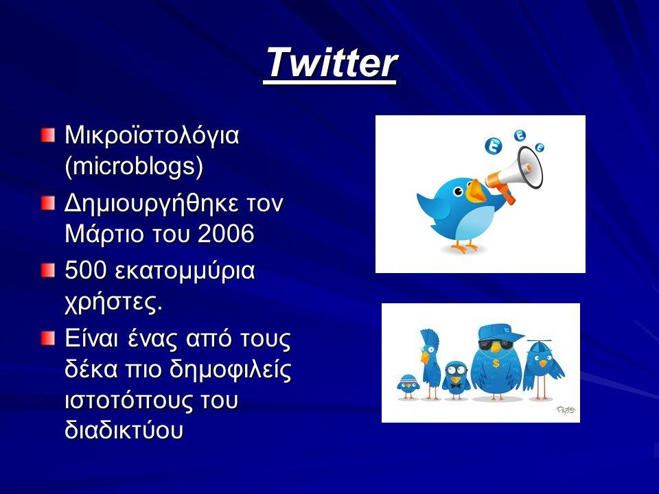 Twitter Μικροϊστολόγια (microblogs) Δημιουργήθηκε τον Μάρτιο του 2006 500 εκατομμύρια χρήστες. Είναι ένας από τους δέκα πιο δημοφιλείς ιστοτόπους του