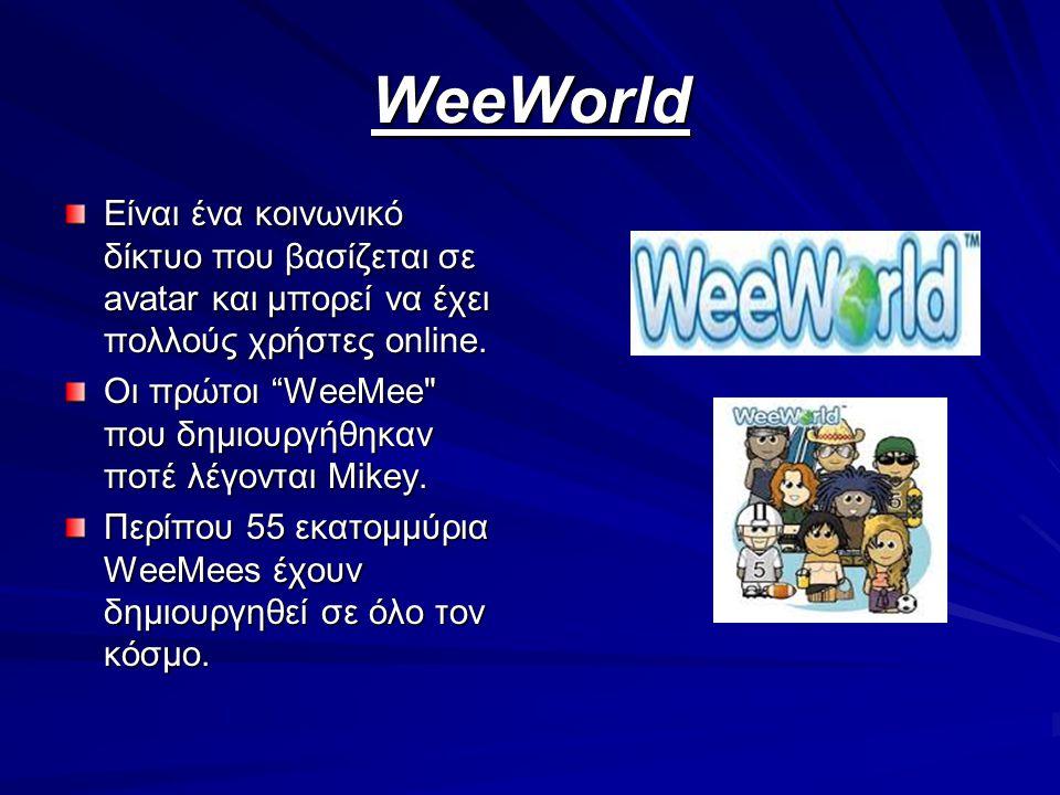 "WeeWorld Είναι ένα κοινωνικό δίκτυο που βασίζεται σε avatar και μπορεί να έχει πολλούς χρήστες online. Οι πρώτοι ""WeeMee"