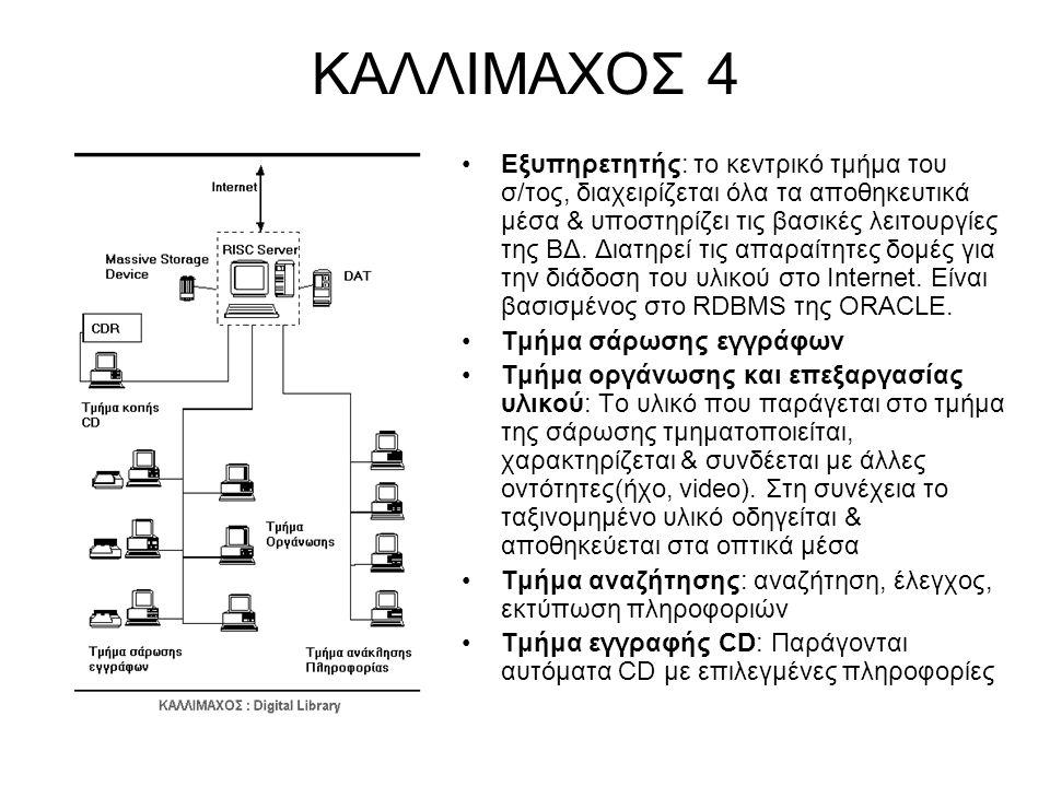 ΚΑΛΛΙΜΑΧΟΣ 4 Εξυπηρετητής: το κεντρικό τμήμα του σ/τος, διαχειρίζεται όλα τα αποθηκευτικά μέσα & υποστηρίζει τις βασικές λειτουργίες της ΒΔ. Διατηρεί