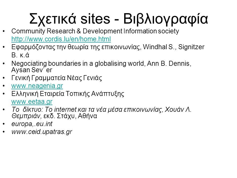 Σχετικά sites - Βιβλιογραφία Community Research & Development Information society http://www.cordis.lu/en/home.html Εφαρμόζοντας την θεωρία της επικοι