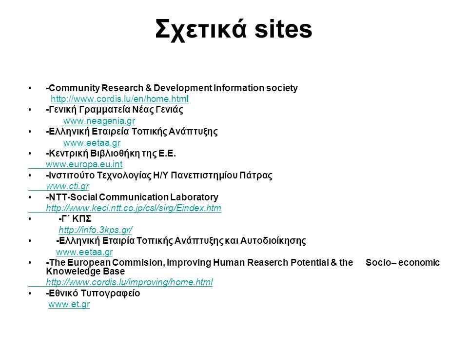 Σχετικά sites -Community Research & Development Information society http://www.cordis.lu/en/home.htmlhttp://www.cordis.lu/en/home.html -Γενική Γραμματ