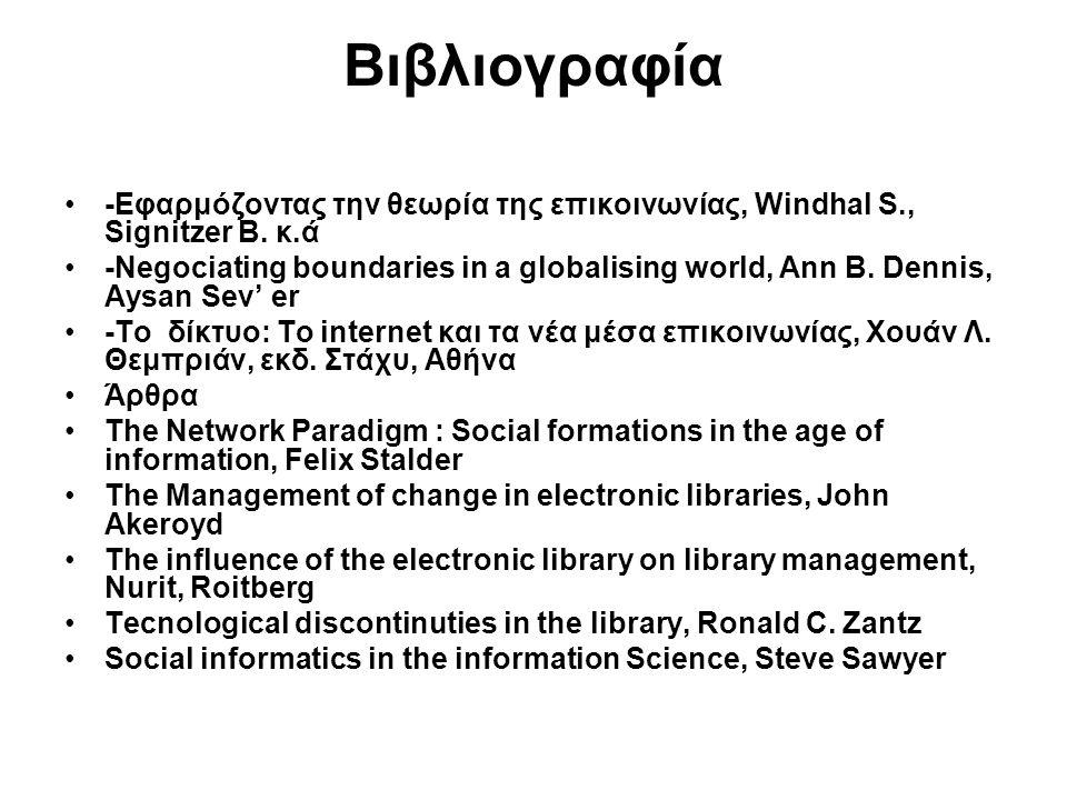 Βιβλιογραφία -Εφαρμόζοντας την θεωρία της επικοινωνίας, Windhal S., Signitzer B. κ.ά -Negociating boundaries in a globalising world, Ann B. Dennis, Ay
