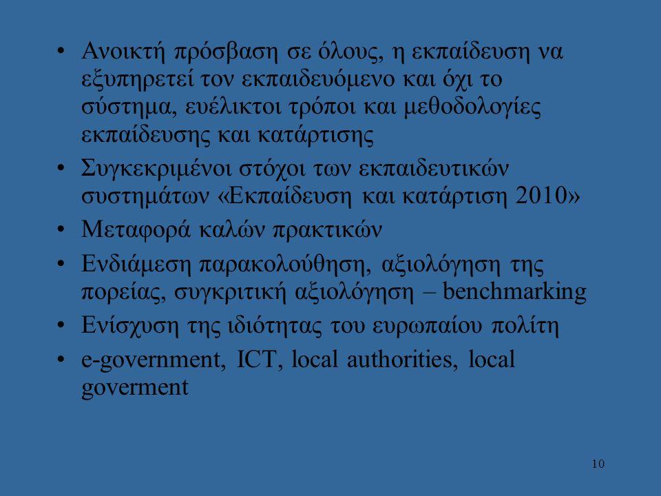 10 Aνοικτή πρόσβαση σε όλους, η εκπαίδευση να εξυπηρετεί τον εκπαιδευόμενο και όχι το σύστημα, ευέλικτοι τρόποι και μεθοδολογίες εκπαίδευσης και κατάρτισης Συγκεκριμένοι στόχοι των εκπαιδευτικών συστημάτων «Εκπαίδευση και κατάρτιση 2010» Μεταφορά καλών πρακτικών Ενδιάμεση παρακολούθηση, αξιολόγηση της πορείας, συγκριτική αξιολόγηση – benchmarking Ενίσχυση της ιδιότητας του ευρωπαίου πολίτη e-government, ICT, local authorities, local goverment