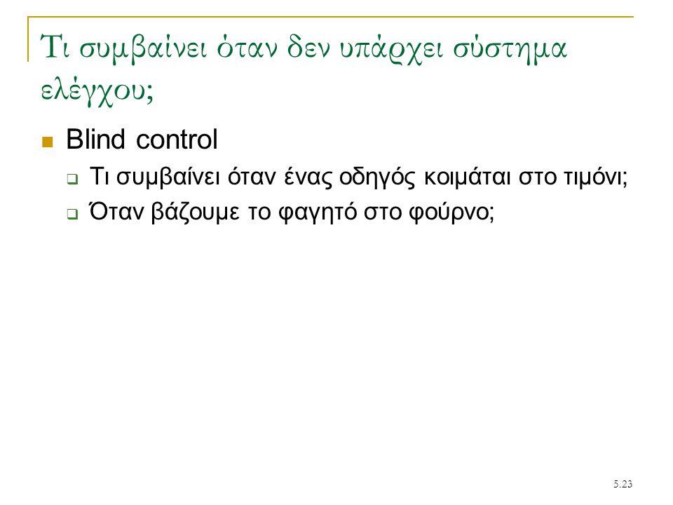 5.23 Τι συμβαίνει όταν δεν υπάρχει σύστημα ελέγχου; Blind control  Τι συμβαίνει όταν ένας οδηγός κοιμάται στο τιμόνι;  Όταν βάζουμε το φαγητό στο φο