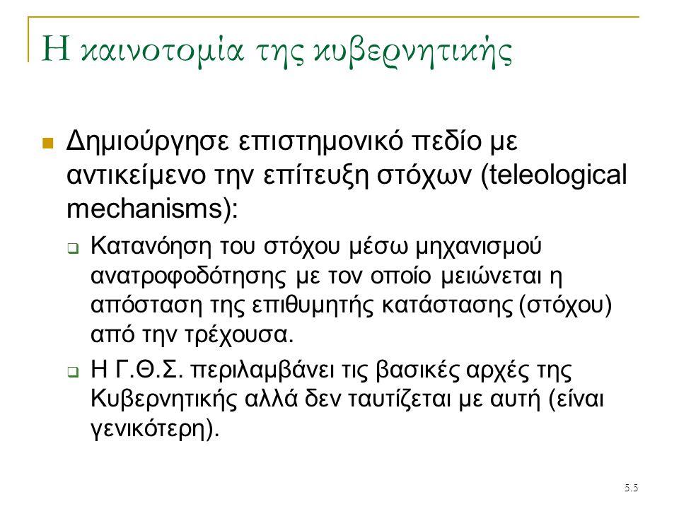 5.6 Κυβερνητική & Θεωρία Συστημάτων Εννοιολογικά η Θεωρία Συστημάτων είναι συγγενής με την Κυβερνητική, διότι η Γ.Θ.Σ.