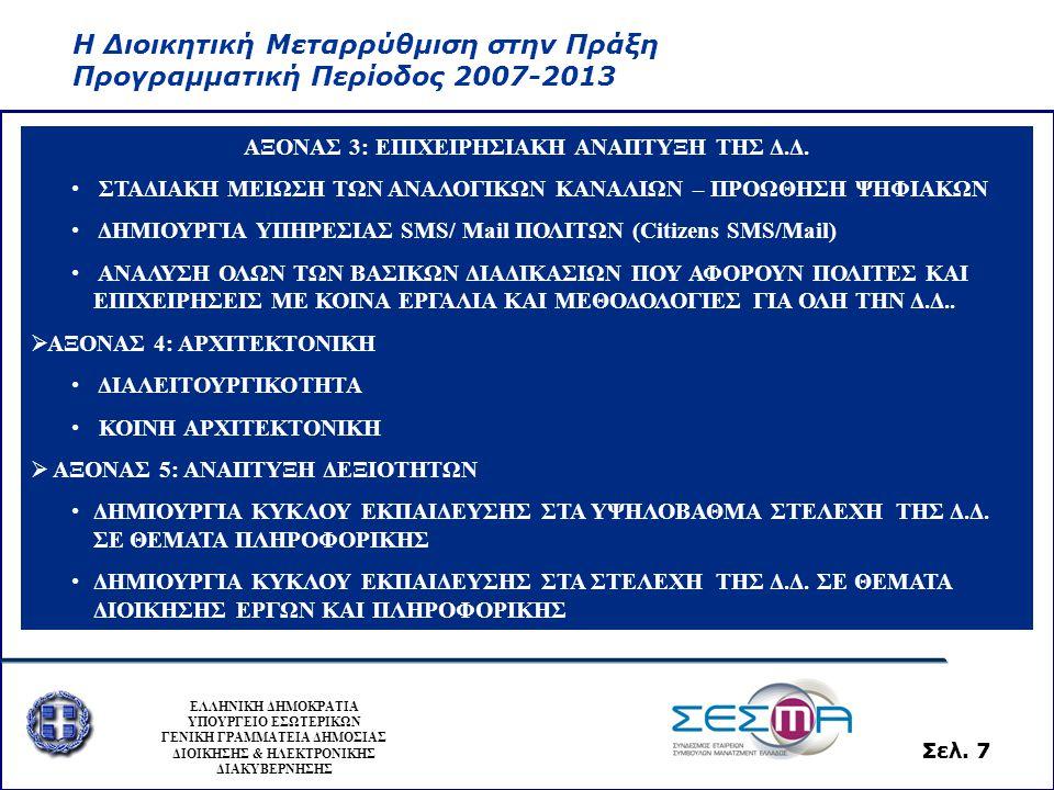 Η Διοικητική Μεταρρύθμιση στην Πράξη Προγραμματική Περίοδος 2007-2013 ΕΛΛΗΝΙΚΗ ΔΗΜΟΚΡΑΤΙΑ ΥΠΟΥΡΓΕΙΟ ΕΣΩΤΕΡΙΚΩΝ ΓΕΝΙΚΗ ΓΡΑΜΜΑΤΕΙΑ ΔΗΜΟΣΙΑΣ ΔΙΟΙΚΗΣΗΣ & ΗΛΕΚΤΡΟΝΙΚΗΣ ΔΙΑΚΥΒΕΡΝΗΣΗΣ Σελ.