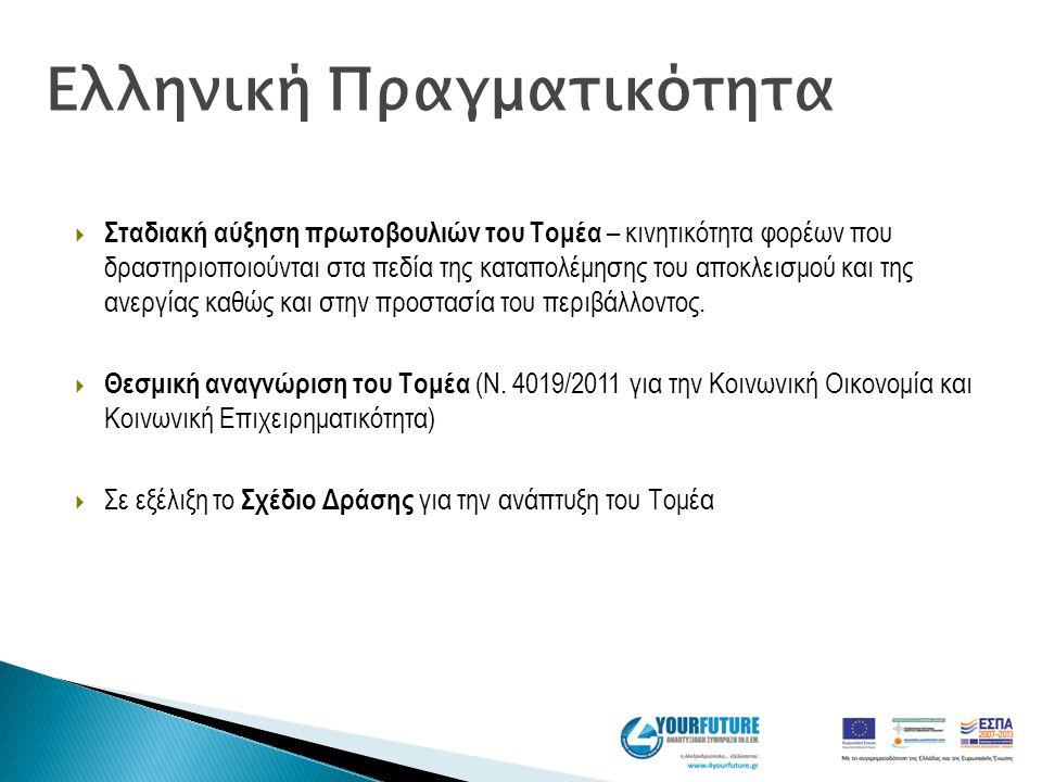  Σταδιακή αύξηση πρωτοβουλιών του Τομέα – κινητικότητα φορέων που δραστηριοποιούνται στα πεδία της καταπολέμησης του αποκλεισμού και της ανεργίας καθ