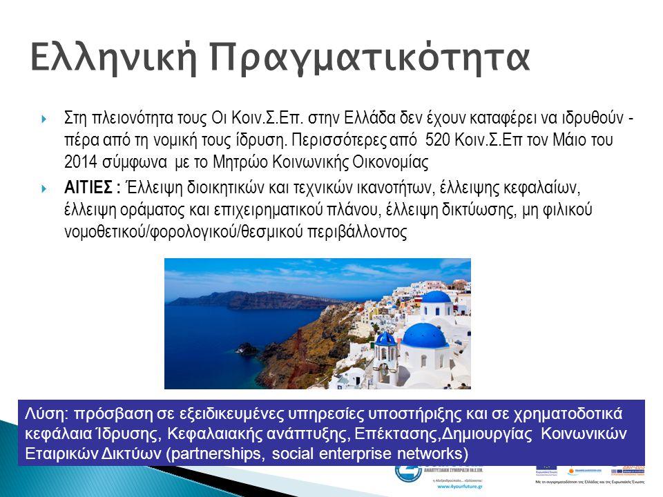  Στη πλειονότητα τους Οι Κοιν.Σ.Επ. στην Ελλάδα δεν έχουν καταφέρει να ιδρυθούν - πέρα από τη νομική τους ίδρυση. Περισσότερες από 520 Κοιν.Σ.Επ τον