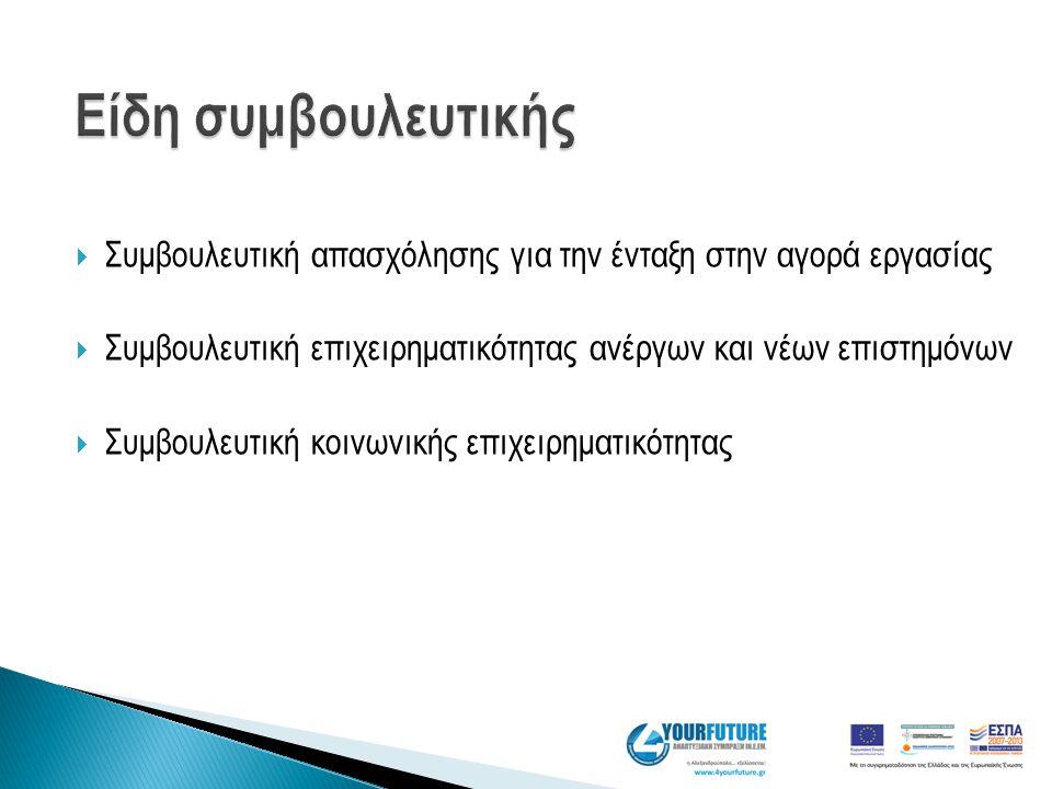  Συμβουλευτική απασχόλησης για την ένταξη στην αγορά εργασίας  Συμβουλευτική επιχειρηματικότητας ανέργων και νέων επιστημόνων  Συμβουλευτική κοινων