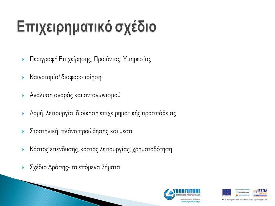  Περιγραφή Επιχείρησης, Προϊόντος, Υπηρεσίας  Καινοτομία/ διαφοροποίηση  Ανάλυση αγοράς και ανταγωνισμού  Δομή, λειτουργία, διοίκηση επιχειρηματικ