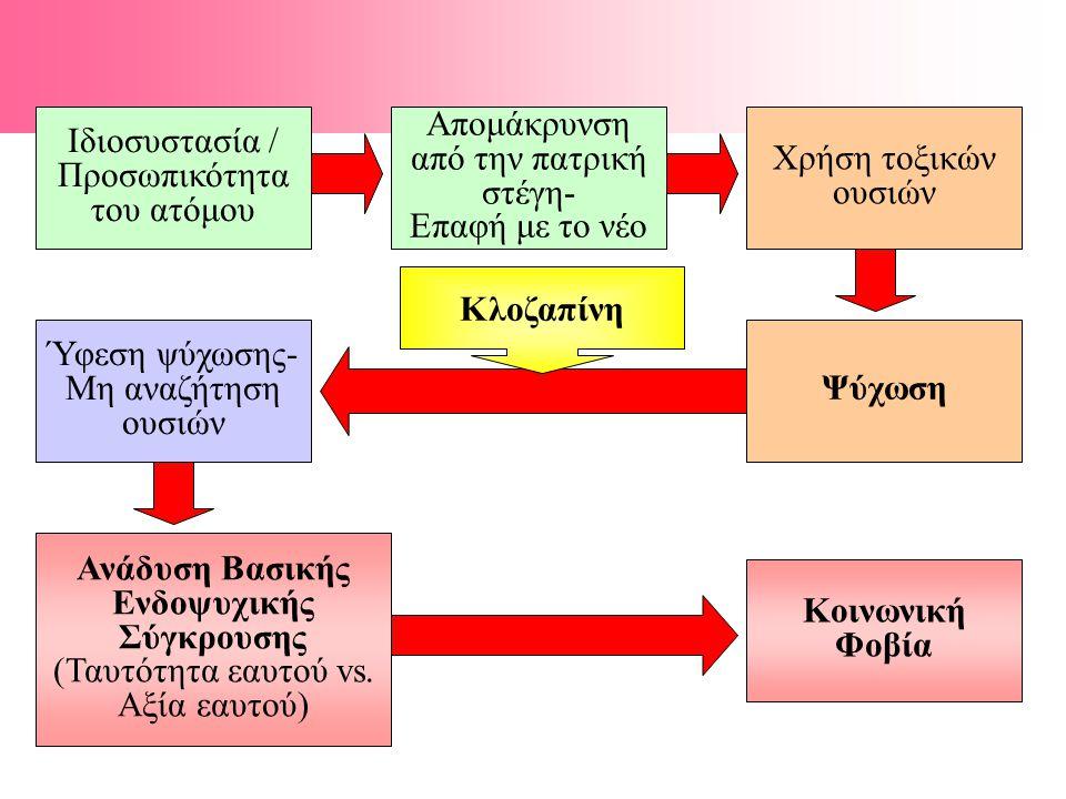 Ιδιοσυστασία / Προσωπικότητα του ατόμου Απομάκρυνση από την πατρική στέγη- Επαφή με το νέο Χρήση τοξικών ουσιών Ψύχωση Ύφεση ψύχωσης- Μη αναζήτηση ουσιών Ανάδυση Βασικής Ενδοψυχικής Σύγκρουσης (Ταυτότητα εαυτού vs.