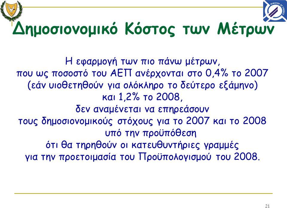 21 Η εφαρμογή των πιο πάνω μέτρων, που ως ποσοστό του ΑΕΠ ανέρχονται στο 0,4% το 2007 (εάν υιοθετηθούν για ολόκληρο το δεύτερο εξάμηνο) και 1,2% το 2008, δεν αναμένεται να επηρεάσουν τους δημοσιονομικούς στόχους για το 2007 και το 2008 υπό την προϋπόθεση ότι θα τηρηθούν οι κατευθυντήριες γραμμές για την προετοιμασία του Προϋπολογισμού του 2008.