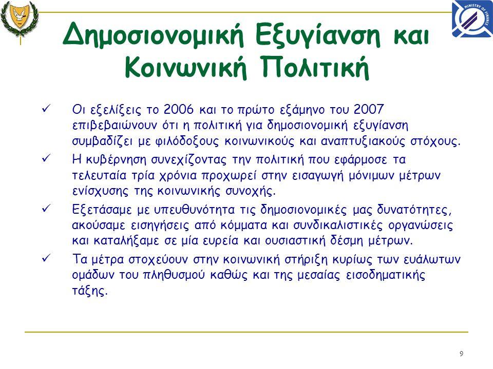 9 Οι εξελίξεις το 2006 και το πρώτο εξάμηνο του 2007 επιβεβαιώνουν ότι η πολιτική για δημοσιονομική εξυγίανση συμβαδίζει με φιλόδοξους κοινωνικούς και αναπτυξιακούς στόχους.