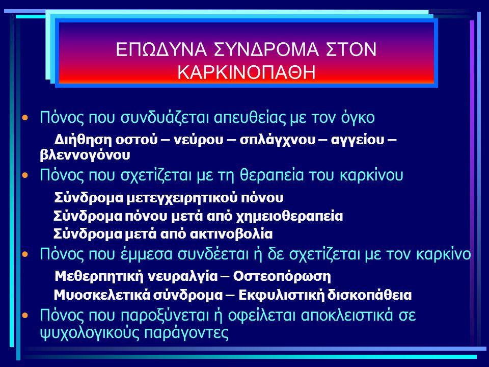 ΕΠΩΔΥΝΑ ΣΥΝΔΡΟΜΑ ΣΤΟΝ ΚΑΡΚΙΝΟΠΑΘΗ Πόνος που συνδυάζεται απευθείας με τον όγκο Διήθηση οστού – νεύρου – σπλάγχνου – αγγείου – βλεννογόνου Πόνος που σχε