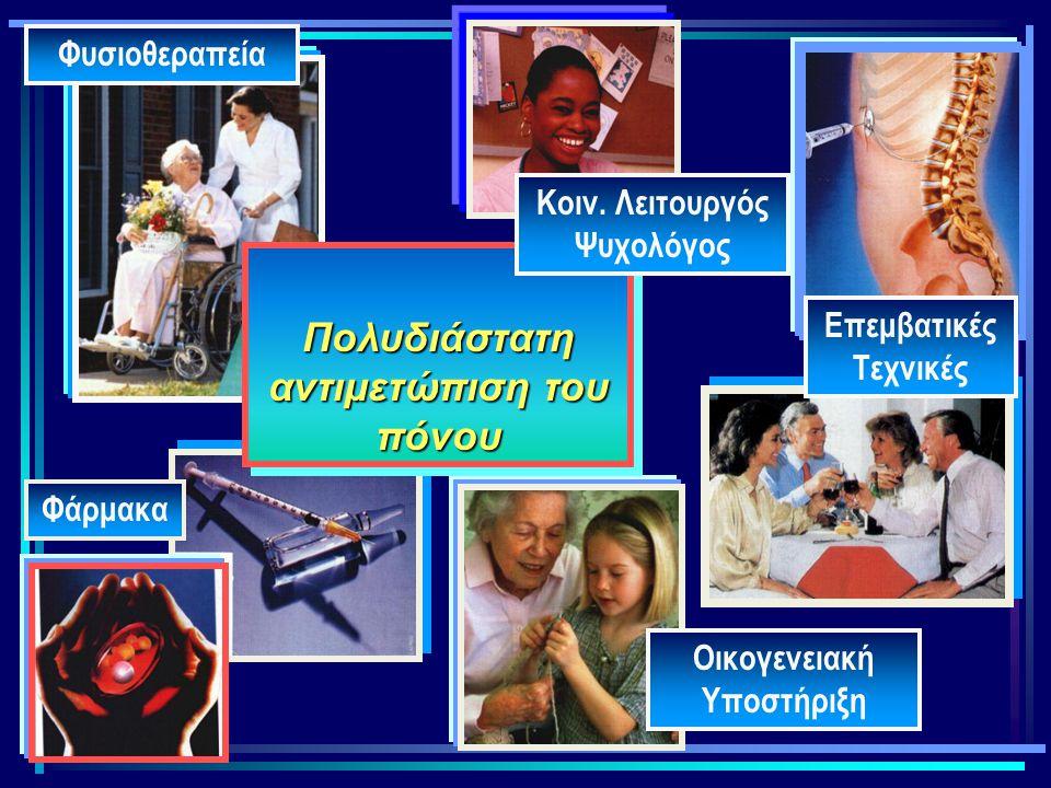 Φάρμακα Επεμβατικές Τεχνικές Οικογενειακή Υποστήριξη Πολυδιάστατη αντιμετώπιση του πόνου Φυσιοθεραπεία Κοιν. Λειτουργός Ψυχολόγος