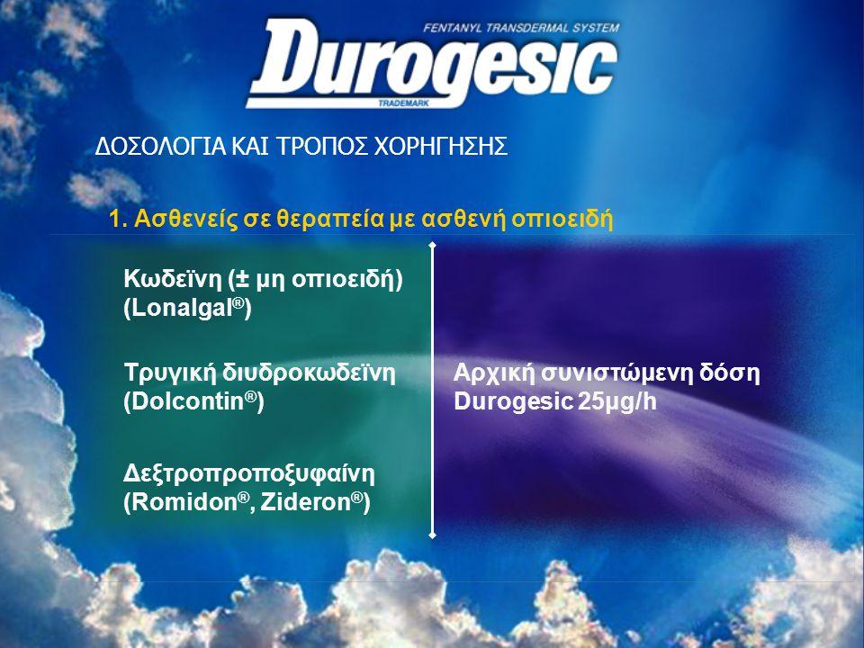 ΔΟΣΟΛΟΓΙΑ ΚΑΙ ΤΡΟΠΟΣ ΧΟΡΗΓΗΣΗΣ 1. Ασθενείς σε θεραπεία με ασθενή οπιοειδή Δεξτροπροποξυφαίνη (Romidon ®, Zideron ® ) Κωδεϊνη (± μη οπιοειδή) (Lonalgal