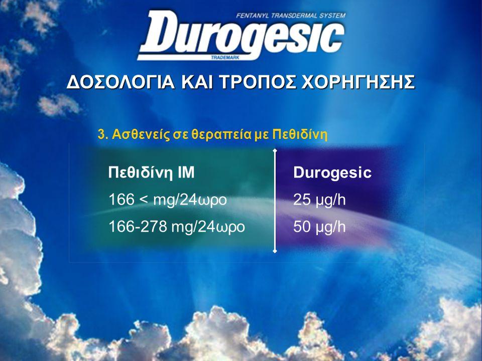 3. Ασθενείς σε θεραπεία με Πεθιδίνη Πεθιδίνη ΙΜ 166 < mg/24ωρο 166-278 mg/24ωρο Durogesic 25 μg/h 50 μg/h ΔΟΣΟΛΟΓΙΑ ΚΑΙ ΤΡΟΠΟΣ ΧΟΡΗΓΗΣΗΣ