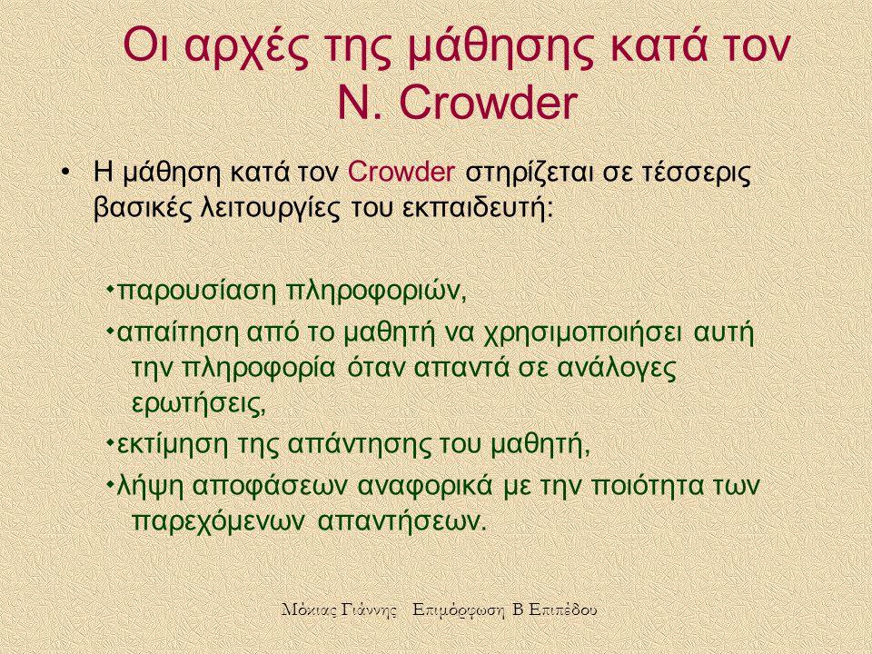 Οι αρχές της μάθησης κατά τον N. Crowder Η μάθηση κατά τον Crowder στηρίζεται σε τέσσερις βασικές λειτουργίες του εκπαιδευτή:  παρουσίαση πληροφοριών