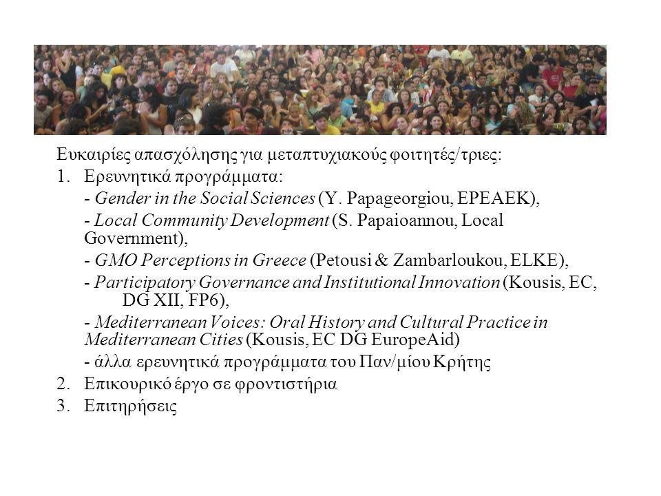 Ευκαιρίες απασχόλησης για μεταπτυχιακούς φοιτητές/τριες: 1.Ερευνητικά προγράμματα: - Gender in the Social Sciences (Y. Papageorgiou, EPEAEK), - Local