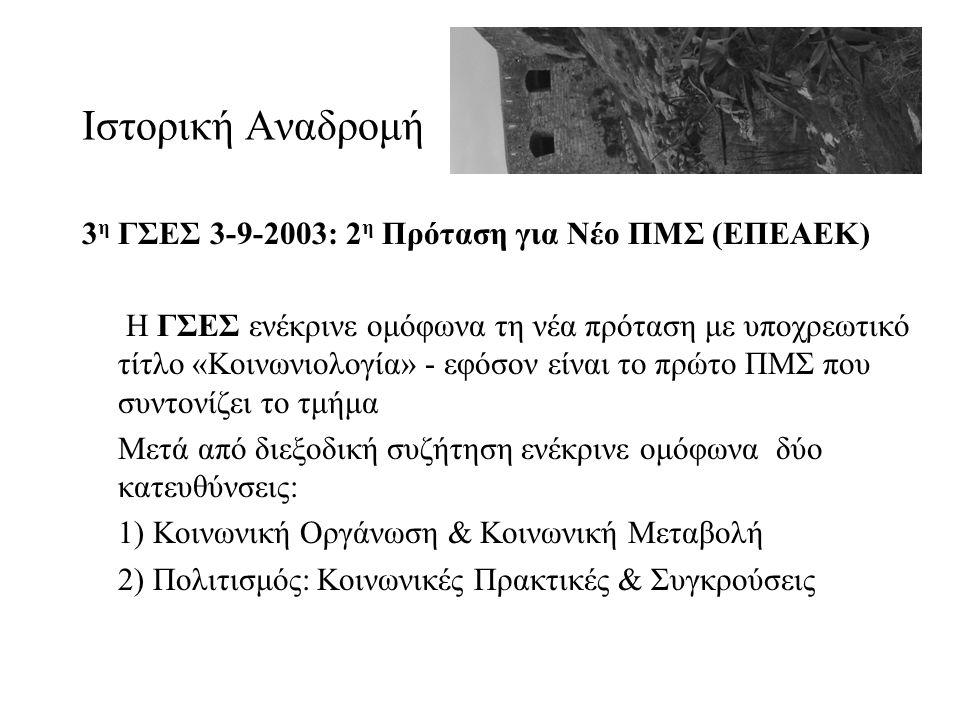 Ιστορική Αναδρομή 3 η ΓΣΕΣ 3-9-2003: 2 η Πρόταση για Νέο ΠΜΣ (ΕΠΕΑΕΚ) Η ΓΣΕΣ ενέκρινε ομόφωνα τη νέα πρόταση με υποχρεωτικό τίτλο «Κοινωνιολογία» - εφ