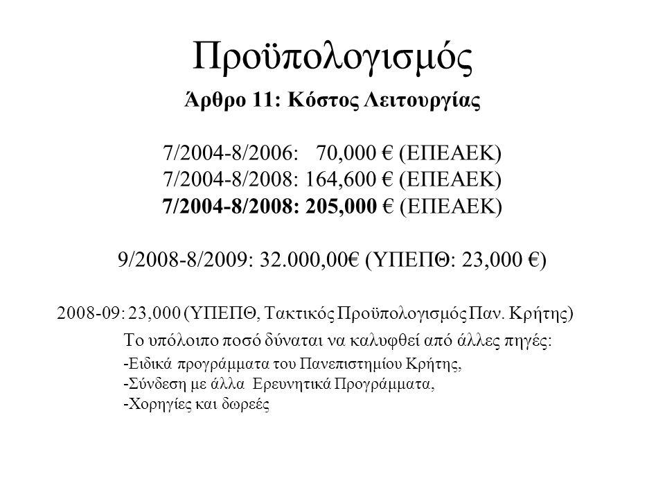 Προϋπολογισμός Άρθρο 11: Κόστος Λειτουργίας 7/2004-8/2006: 70,000 € (ΕΠΕΑΕΚ) 7/2004-8/2008: 164,600 € (ΕΠΕΑΕΚ) 7/2004-8/2008: 205,000 € (ΕΠΕΑΕΚ) 9/200