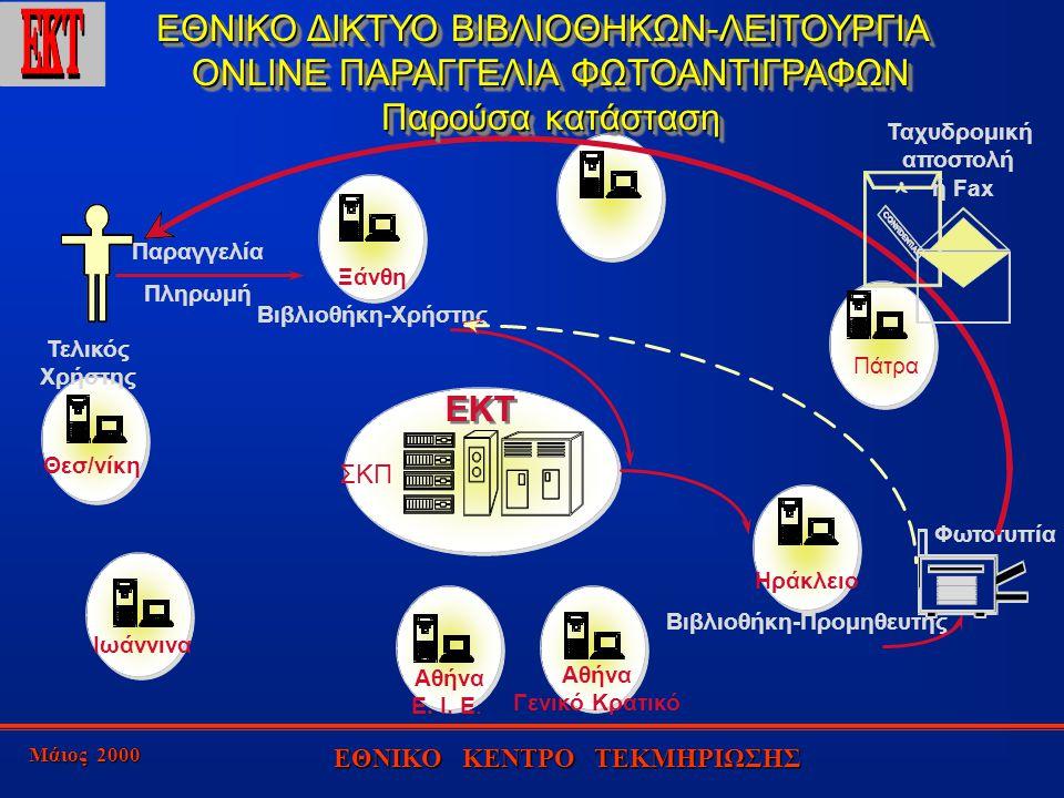 Μάιος 2000 ΕΘΝΙΚΟ ΚΕΝΤΡΟ ΤΕΚΜΗΡΙΩΣΗΣ EKT Αθήνα Ε. Ι.