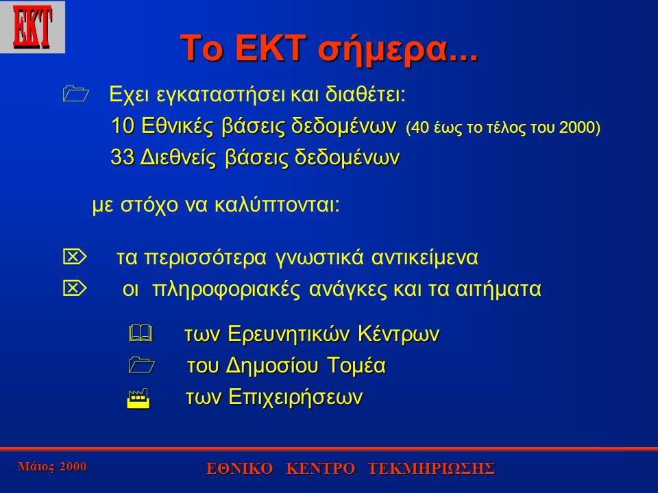 Μάιος 2000 ΕΘΝΙΚΟ ΚΕΝΤΡΟ ΤΕΚΜΗΡΙΩΣΗΣ ΟΙ ΚΥΡΙOΤΕΡΟΙ ΔΙΑΘΕΤΕΣ ΣΤΟΥΣ ΟΠΟΙΟΥΣ ΕΧΕΙ ΠΡΟΣΒΑΣΗ ΤΟ ΕΚΤ 1.300 διεθνείς βάσεις δεδομένων ΕΚΤ EINS FT PROFILE ORBIT ECHO EUROBASES QUESTEL DATA-STAR DIMDISTN DIALOG