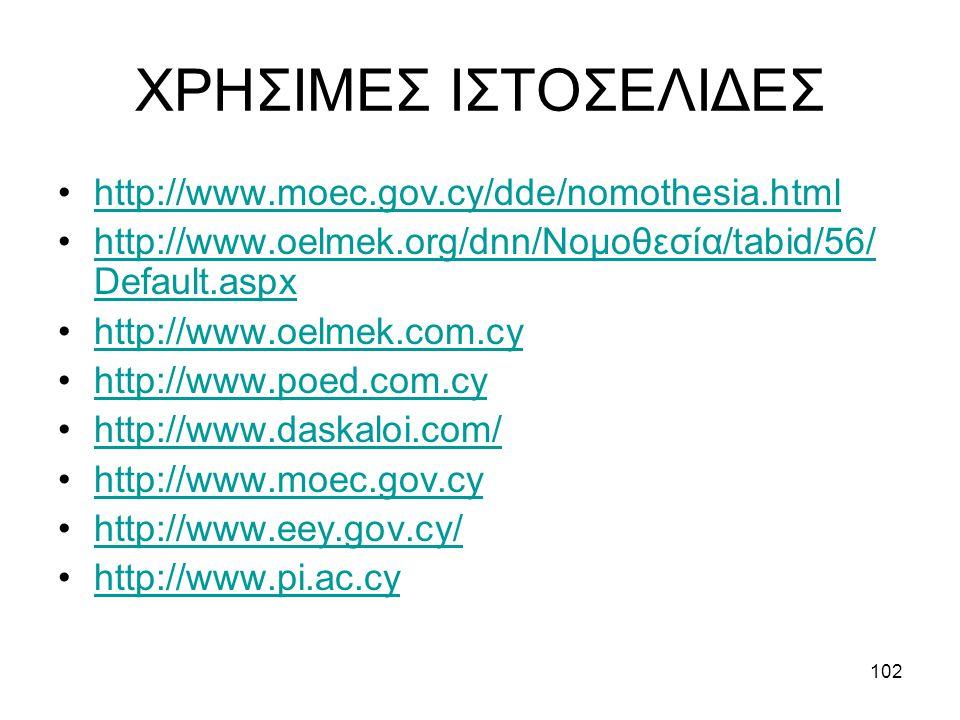 102 ΧΡΗΣΙΜΕΣ ΙΣΤΟΣΕΛΙΔΕΣ http://www.moec.gov.cy/dde/nomothesia.html http://www.oelmek.org/dnn/Νομοθεσία/tabid/56/ Default.aspxhttp://www.oelmek.org/dnn/Νομοθεσία/tabid/56/ Default.aspx http://www.oelmek.com.cy http://www.poed.com.cy http://www.daskaloi.com/ http://www.moec.gov.cy http://www.eey.gov.cy/ http://www.pi.ac.cy