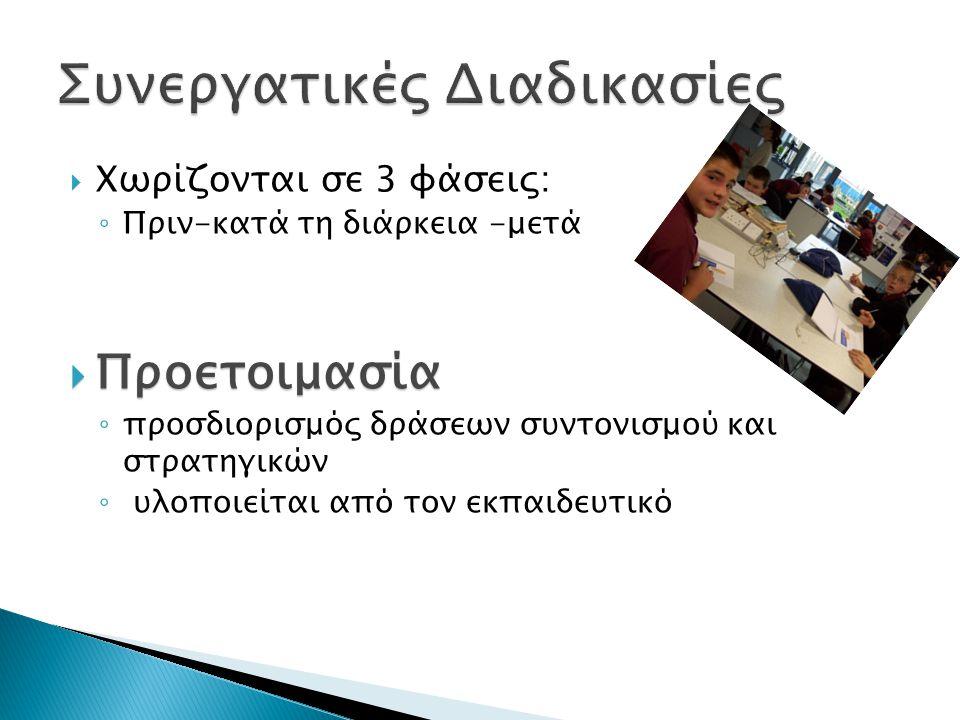  Χωρίζονται σε 3 φάσεις: ◦ Πριν-κατά τη διάρκεια -μετά  Προετοιμασία ◦ προσδιορισμός δράσεων συντονισμού και στρατηγικών ◦ υλοποιείται από τον εκπαιδευτικό