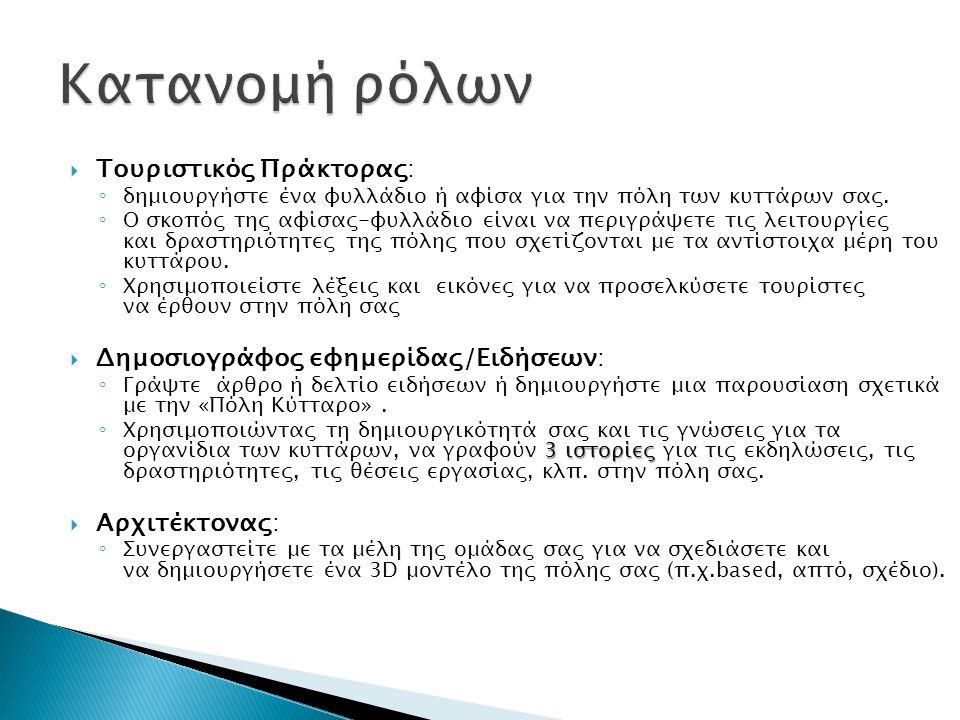  Τουριστικός Πράκτορας: ◦ δημιουργήστε ένα φυλλάδιο ή αφίσα για την πόλη των κυττάρων σας.