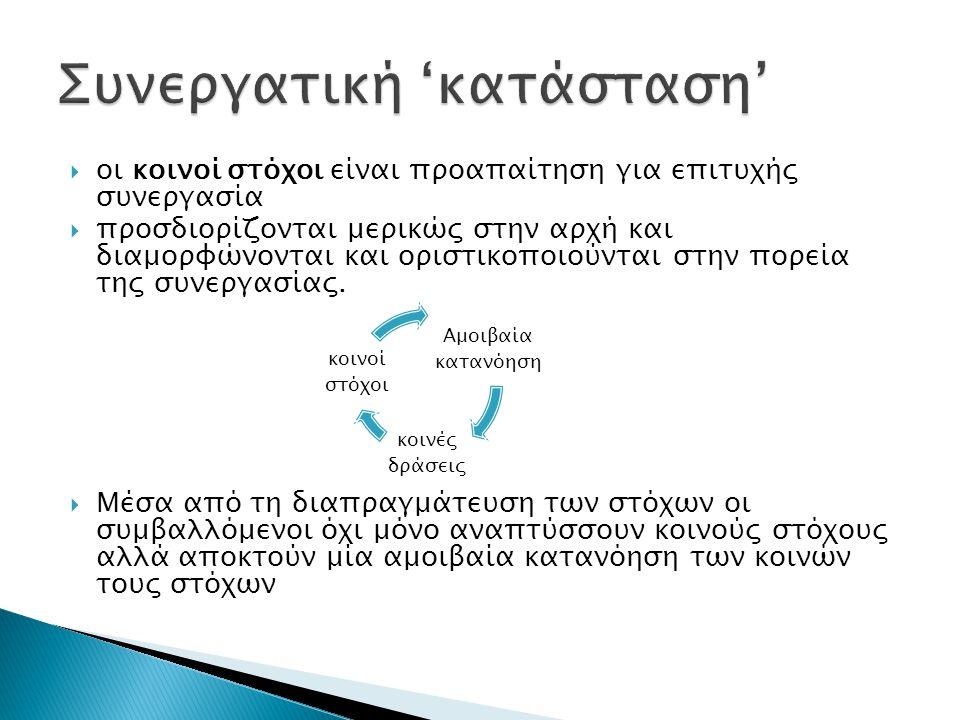  οι κοινοί στόχοι είναι προαπαίτηση για επιτυχής συνεργασία  προσδιορίζονται μερικώς στην αρχή και διαμορφώνονται και οριστικοποιούνται στην πορεία της συνεργασίας.