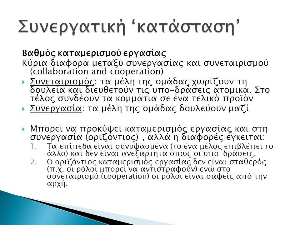 Βαθμός καταμερισμού εργασίας Κύρια διαφορά μεταξύ συνεργασίας και συνεταιρισμού (collaboration and cooperation)  Συνεταιρισμός: τα μέλη της ομάδας χωρίζουν τη δουλεία και διευθετούν τις υπο-δράσεις ατομικά.
