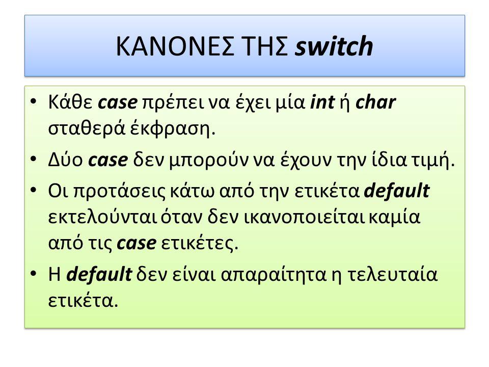 ΚΑΝΟΝΕΣ ΤΗΣ switch Κάθε case πρέπει να έχει μία int ή char σταθερά έκφραση.