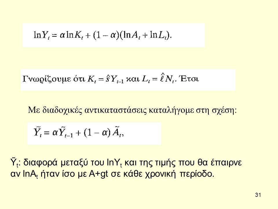 31 Με διαδοχικές αντικαταστάσεις καταλήγομε στη σχέση: Ỹ t : διαφορά μεταξύ του lnY t και της τιμής που θα έπαιρνε αν lnA t ήταν ίσο με A+gt σε κάθε χρονική περίοδο.