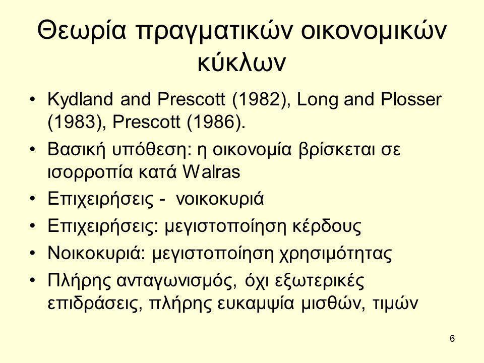 6 Θεωρία πραγματικών οικονομικών κύκλων Kydland and Prescott (1982), Long and Plosser (1983), Prescott (1986).