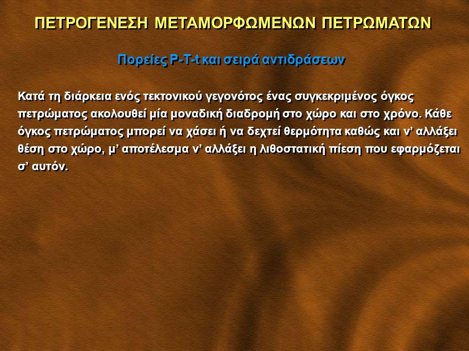 ΠΕΤΡΟΓΕΝΕΣΗ ΜΕΤΑΜΟΡΦΩΜΕΝΩΝ ΠΕΤΡΩΜΑΤΩΝ Πορείες P-T-t και σειρά αντιδράσεων Αριστερόστροφη πορεία ακολουθούν πετρώματα που έχουν υποστεί αύξηση θερμοκρασίας από μαγματική διείσδυση πριν από την πάχυνση του φλοιού.