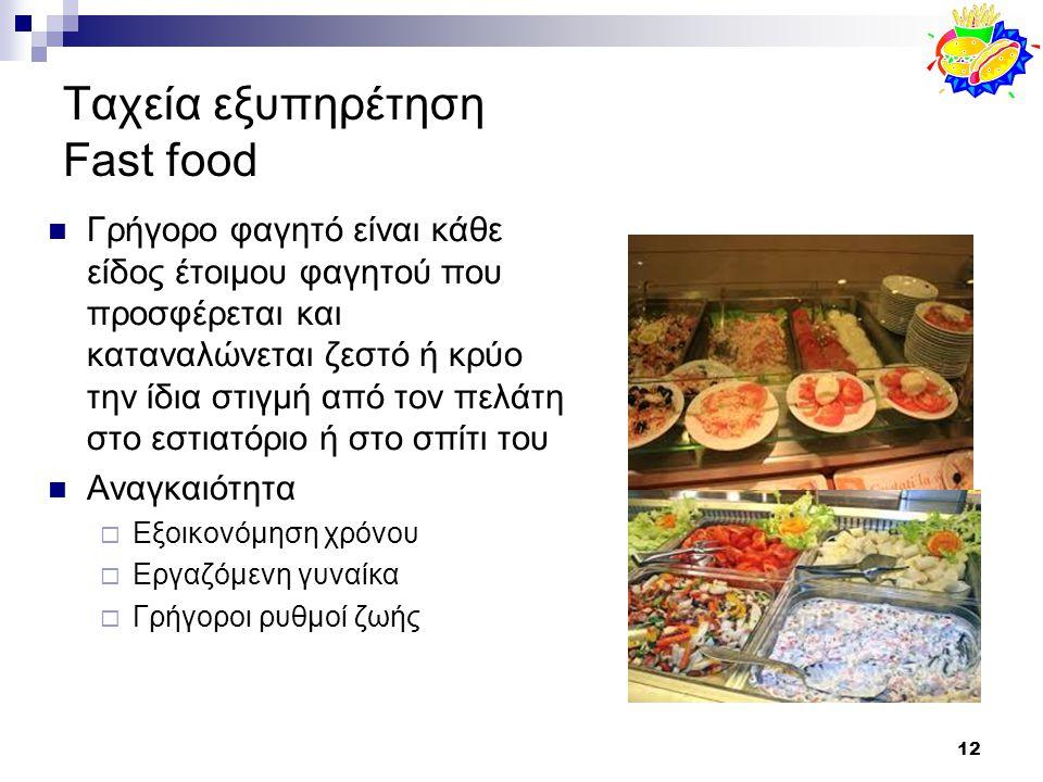 12 Ταχεία εξυπηρέτηση Fast food Γρήγορο φαγητό είναι κάθε είδος έτοιμου φαγητού που προσφέρεται και καταναλώνεται ζεστό ή κρύο την ίδια στιγμή από τον