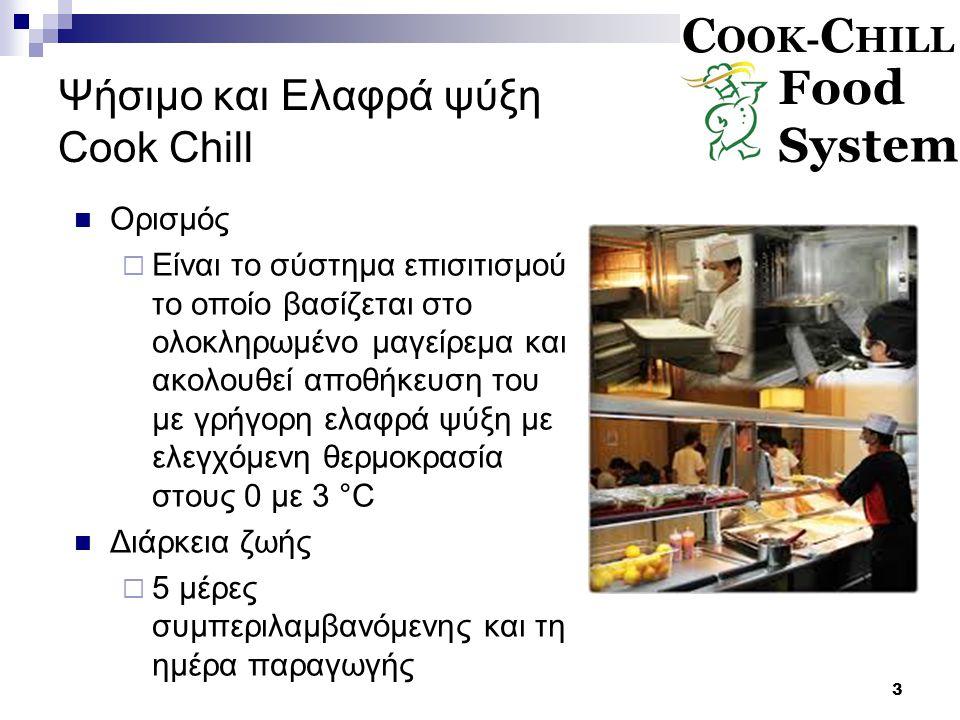 3 Ψήσιμο και Ελαφρά ψύξη Cook Chill Ορισμός  Είναι το σύστημα επισιτισμού το οποίο βασίζεται στο ολοκληρωμένο μαγείρεμα και ακολουθεί αποθήκευση του